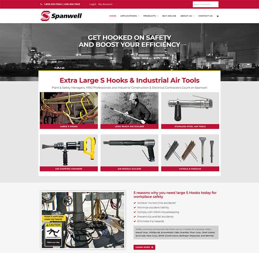 Industrial website design - Home page