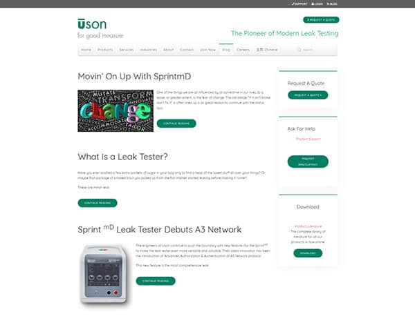 Writing technical blog posts- Uson Leak Testing Blog